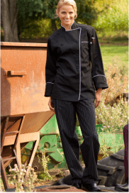 Chef pants black and white pinstripe