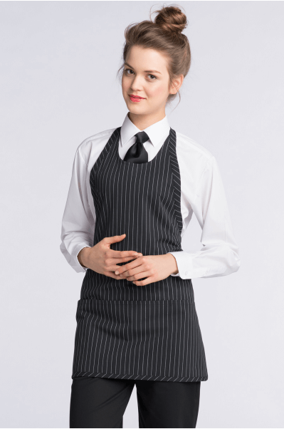 Aprons black and white pinstripe