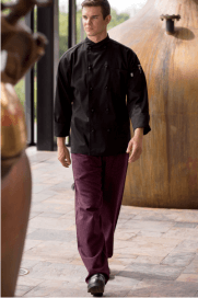 Chef pants black and wine houndstooth