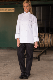 Chef pants red and white pinstripe